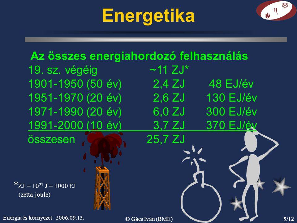 Energia és környezet 2006.09.13. © Gács Iván (BME)5/12 Energetika Az összes energiahordozó felhasználás 19. sz. végéig ~11 ZJ* 1901-1950 (50 év) 2,4 Z