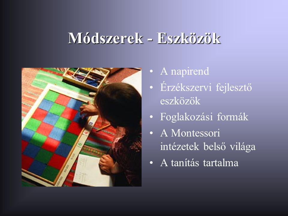 Módszerek - Eszközök •A napirend •Érzékszervi fejlesztő eszközök •Foglakozási formák •A Montessori intézetek belső világa •A tanítás tartalma