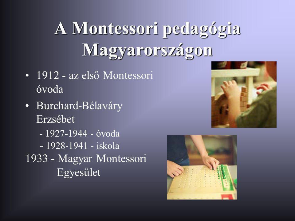 A Montessori pedagógia Magyarországon •1912 - az első Montessori óvoda •Burchard-Bélaváry Erzsébet - 1927-1944 - óvoda - 1928-1941 - iskola 1933 - Mag