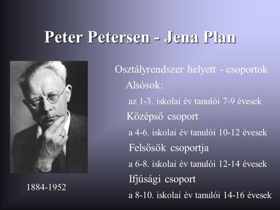 Peter Petersen - Jena Plan Osztályrendszer helyett - csoportok Alsósok: az 1-3. iskolai év tanulói 7-9 évesek Középső csoport a 4-6. iskolai év tanuló