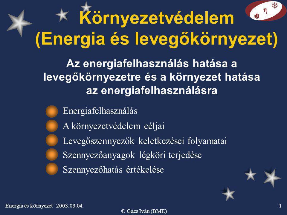 Energia és környezet 2003.03.04. © Gács Iván (BME) 1 Környezetvédelem (Energia és levegőkörnyezet) Az energiafelhasználás hatása a levegőkörnyezetre é