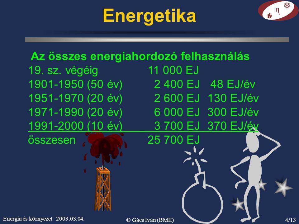 Energia és környezet 2003.03.04. © Gács Iván (BME)4/13 Energetika Az összes energiahordozó felhasználás 19. sz. végéig 11 000 EJ 1901-1950 (50 év) 2 4