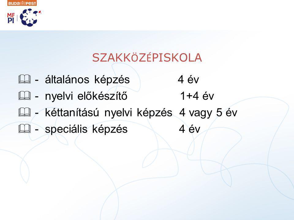 SZAKK Ö Z É PISKOLA  - általános képzés 4 év  - nyelvi előkészítő 1+4 év  - kéttanítású nyelvi képzés 4 vagy 5 év  - speciális képzés 4 év