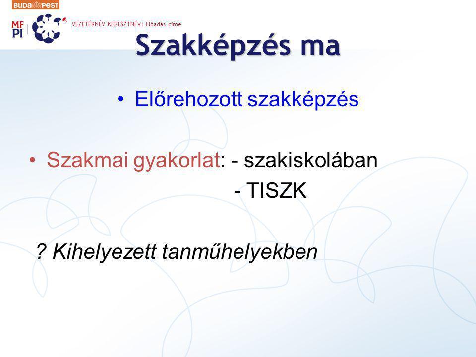 Szakképzés ma •Előrehozott szakképzés •Szakmai gyakorlat: - szakiskolában - TISZK .