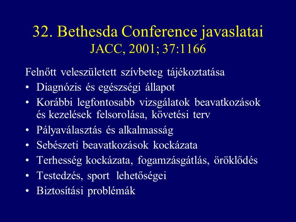 32. Bethesda Conference javaslatai JACC, 2001; 37:1166 Felnőtt veleszületett szívbeteg tájékoztatása •Diagnózis és egészségi állapot •Korábbi legfonto