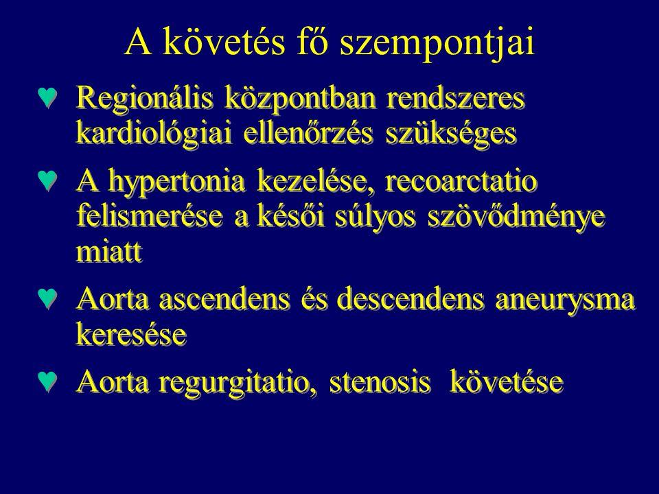 A követés fő szempontjai ♥Regionális központban rendszeres kardiológiai ellenőrzés szükséges ♥A hypertonia kezelése, recoarctatio felismerése a késői