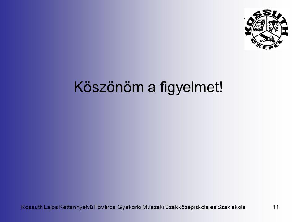 Kossuth Lajos Kéttannyelvű Fővárosi Gyakorló Műszaki Szakközépiskola és Szakiskola11 Köszönöm a figyelmet!