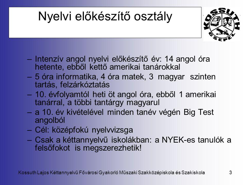 Kossuth Lajos Kéttannyelvű Fővárosi Gyakorló Műszaki Szakközépiskola és Szakiskola3 Nyelvi előkészítő osztály –Intenzív angol nyelvi előkészítő év: 14