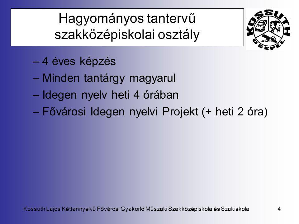 Kossuth Lajos Kéttannyelvű Fővárosi Gyakorló Műszaki Szakközépiskola és Szakiskola4 Hagyományos tantervű szakközépiskolai osztály –4 éves képzés –Mind