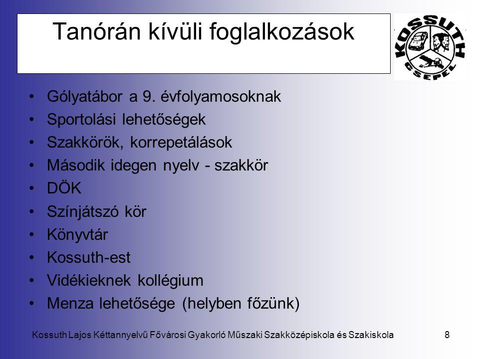 Kossuth Lajos Kéttannyelvű Fővárosi Gyakorló Műszaki Szakközépiskola és Szakiskola8 Tanórán kívüli foglalkozások •Gólyatábor a 9. évfolyamosoknak •Spo