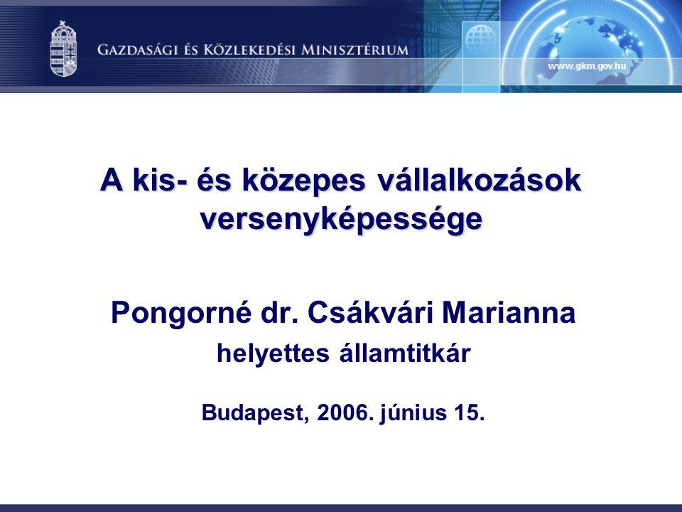 A kis- és közepes vállalkozások versenyképessége Pongorné dr. Csákvári Marianna helyettes államtitkár Budapest, 2006. június 15.