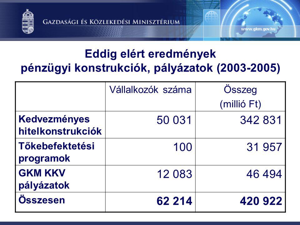 Eddig elért eredmények pénzügyi konstrukciók, pályázatok (2003-2005) Vállalkozók számaÖsszeg (millió Ft) Kedvezményes hitelkonstrukciók 50 031342 831