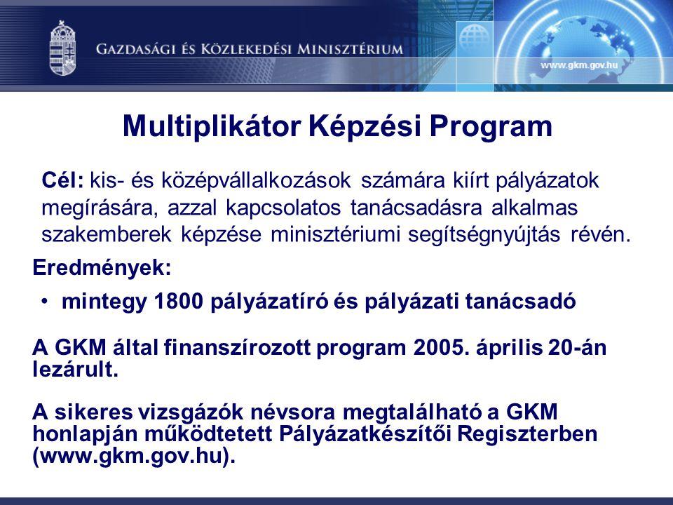 Multiplikátor Képzési Program Eredmények: •mintegy 1800 pályázatíró és pályázati tanácsadó A GKM által finanszírozott program 2005. április 20-án lezá