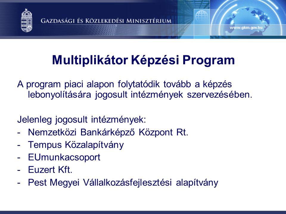 Multiplikátor Képzési Program A program piaci alapon folytatódik tovább a képzés lebonyolítására jogosult intézmények szervezésében. Jelenleg jogosult