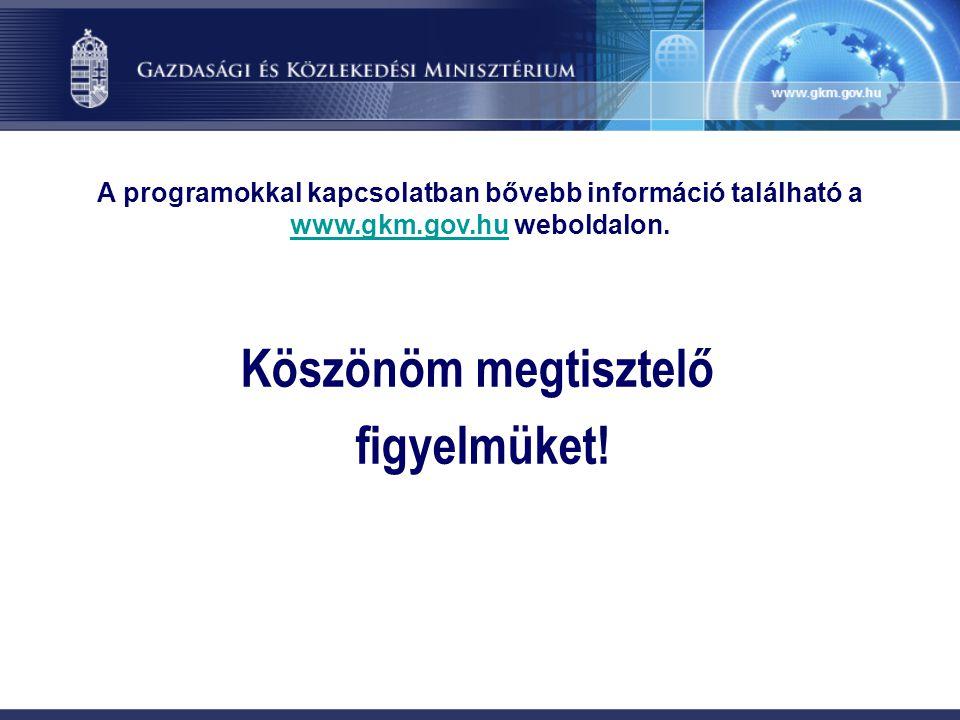 Köszönöm megtisztelő figyelmüket! A programokkal kapcsolatban bővebb információ található a www.gkm.gov.hu weboldalon. www.gkm.gov.hu