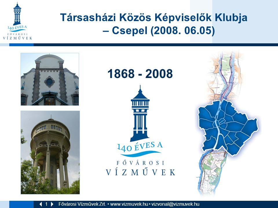 1 Fővárosi Vízművek Zrt. • www.vizmuvek.hu • vizvonal@vizmuvek.hu 1868 - 2008 Társasházi Közös Képviselők Klubja – Csepel (2008. 06.05)