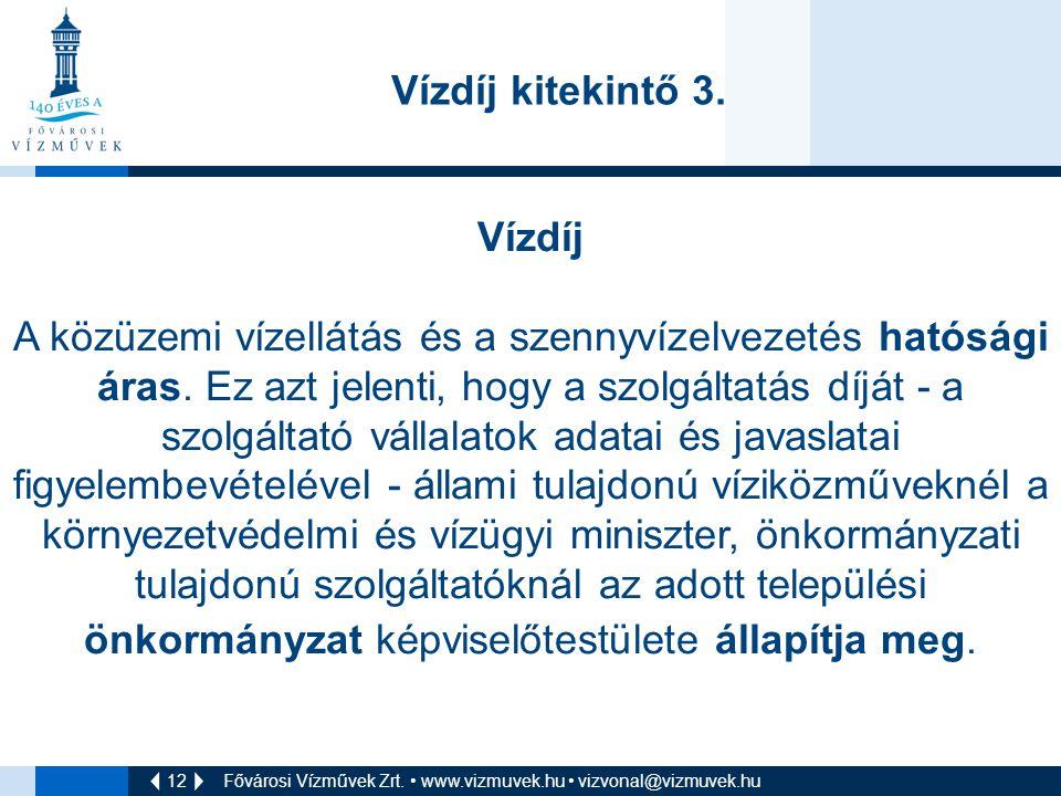 12 Fővárosi Vízművek Zrt.• www.vizmuvek.hu • vizvonal@vizmuvek.hu Vízdíj kitekintő 3.