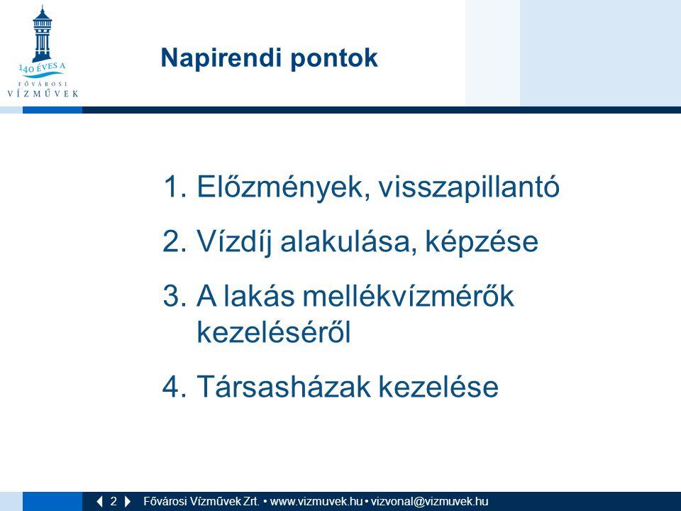 2 Fővárosi Vízművek Zrt. • www.vizmuvek.hu • vizvonal@vizmuvek.hu Napirendi pontok 1.Előzmények, visszapillantó 2.Vízdíj alakulása, képzése 3.A lakás
