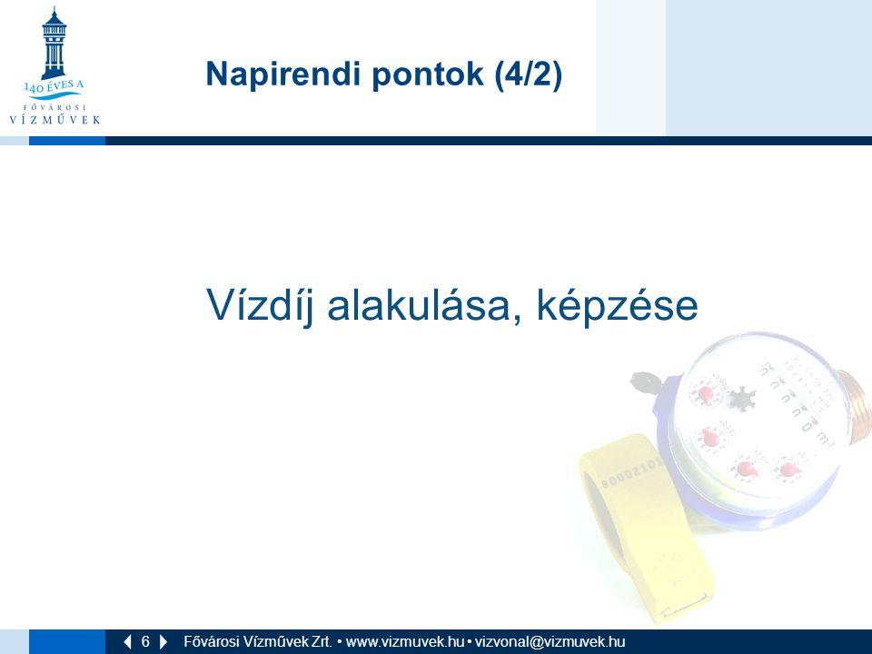 6 Fővárosi Vízművek Zrt. • www.vizmuvek.hu • vizvonal@vizmuvek.hu Napirendi pontok (4/2) Vízdíj alakulása, képzése