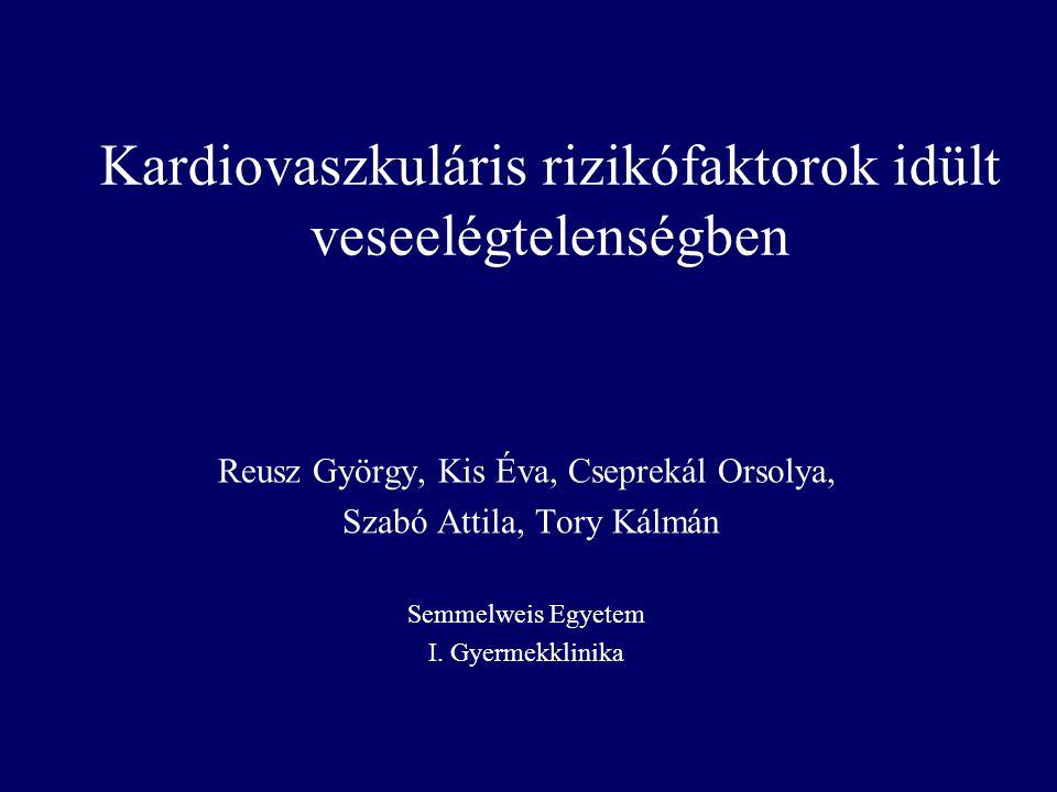 Kardiovaszkuláris rizikófaktorok idült veseelégtelenségben Reusz György, Kis Éva, Cseprekál Orsolya, Szabó Attila, Tory Kálmán Semmelweis Egyetem I. G