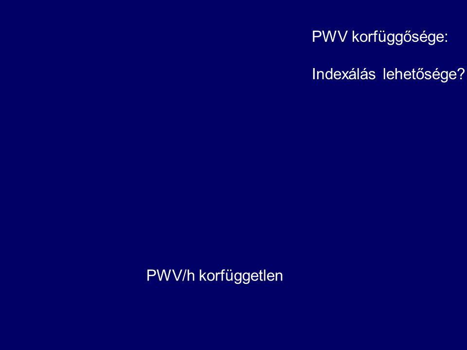 PWV korfüggősége: Indexálás lehetősége? PWV/h korfüggetlen