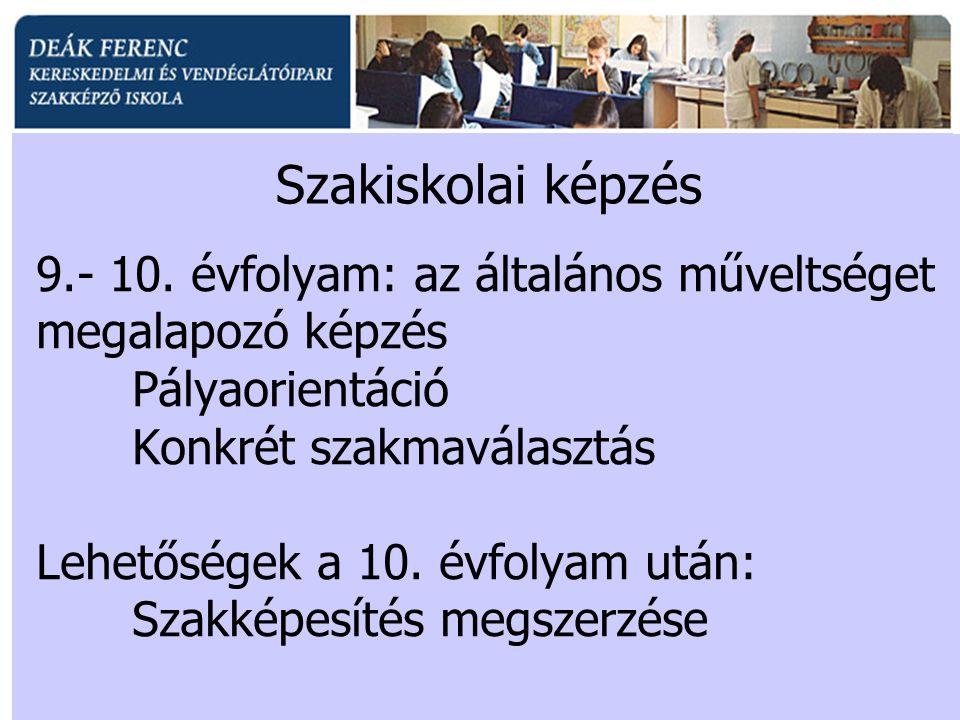 9.- 10. évfolyam: az általános műveltséget megalapozó képzés Pályaorientáció Konkrét szakmaválasztás Lehetőségek a 10. évfolyam után: Szakképesítés me