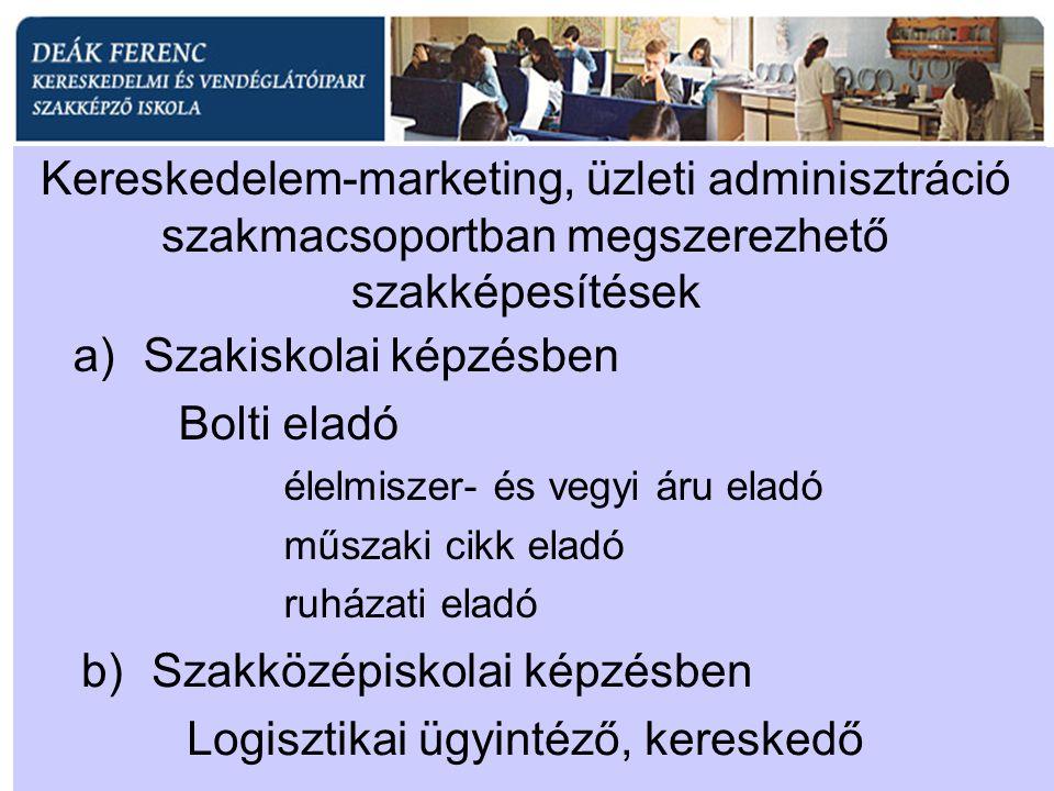 Kereskedelem-marketing, üzleti adminisztráció szakmacsoportban megszerezhető szakképesítések a)Szakiskolai képzésben Bolti eladó élelmiszer- és vegyi