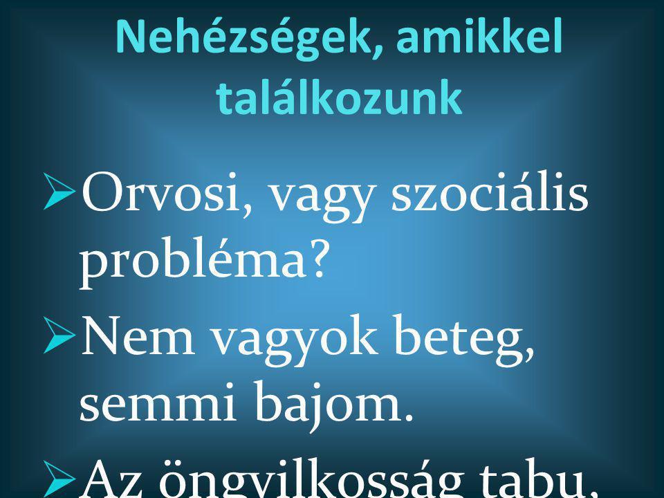 Nehézségek, amikkel találkozunk  Orvosi, vagy szociális probléma?  Nem vagyok beteg, semmi bajom.  Az öngyilkosság tabu, nem beszélünk róla, az his