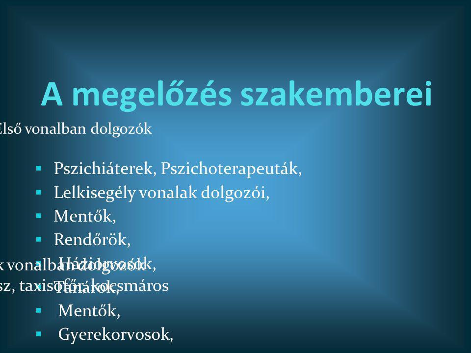 A megelőzés szakemberei  Pszichiáterek, Pszichoterapeuták,  Lelkisegély vonalak dolgozói,  Mentők,  Rendőrök,  Háziorvosok,  Tanárok,  Mentők,