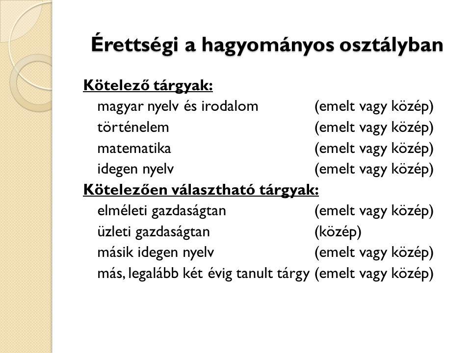 Érettségi a hagyományos osztályban Kötelező tárgyak: magyar nyelv és irodalom(emelt vagy közép) történelem(emelt vagy közép) matematika(emelt vagy köz