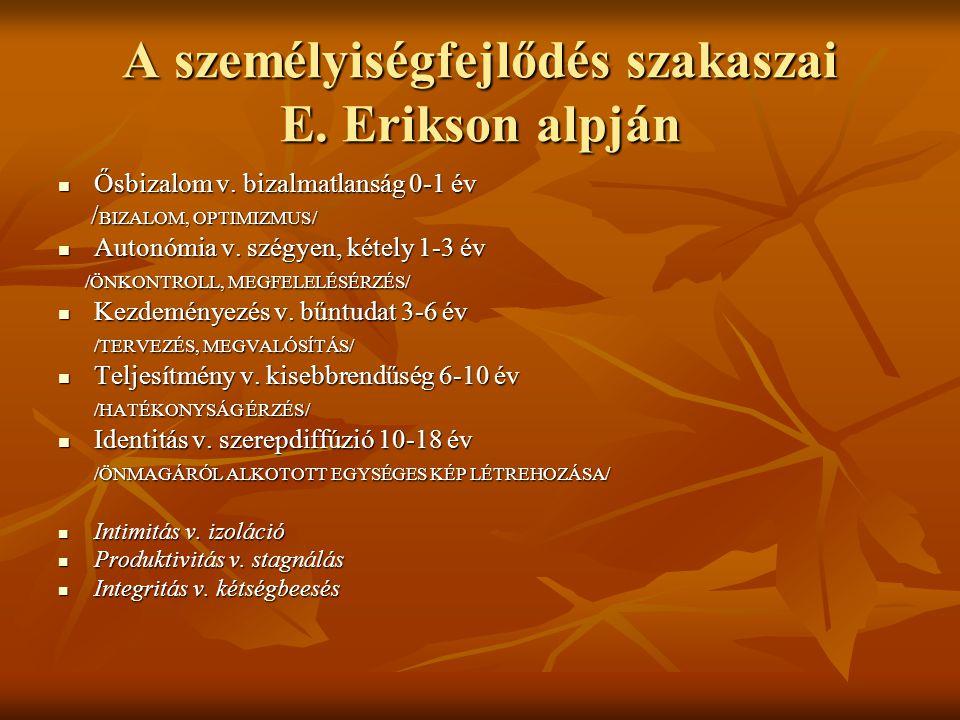 A személyiségfejlődés szakaszai E.Erikson alpján  Ősbizalom v.