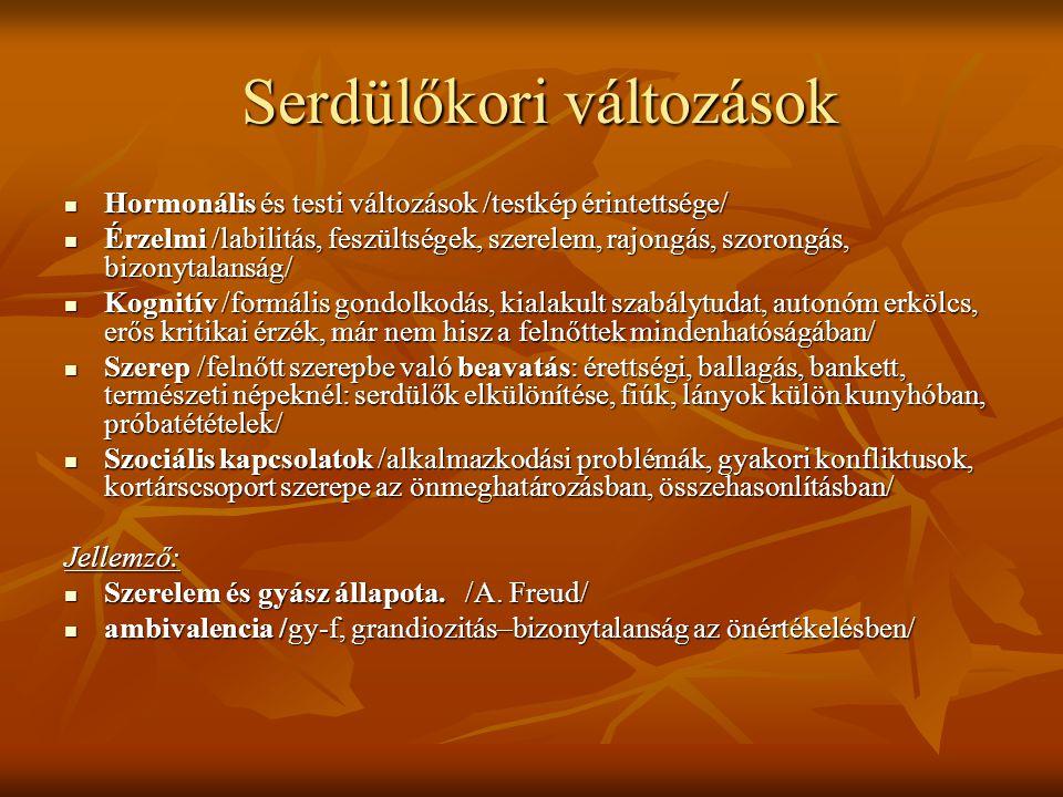 Serdülőkori változások Serdülőkori változások  Hormonális és testi változások /testkép érintettsége/  Érzelmi /labilitás, feszültségek, szerelem, rajongás, szorongás, bizonytalanság/  Kognitív /formális gondolkodás, kialakult szabálytudat, autonóm erkölcs, erős kritikai érzék, már nem hisz a felnőttek mindenhatóságában/  Szerep /felnőtt szerepbe való beavatás: érettségi, ballagás, bankett, természeti népeknél: serdülők elkülönítése, fiúk, lányok külön kunyhóban, próbatétételek/  Szociális kapcsolatok /alkalmazkodási problémák, gyakori konfliktusok, kortárscsoport szerepe az önmeghatározásban, összehasonlításban/ Jellemző:  Szerelem és gyász állapota.