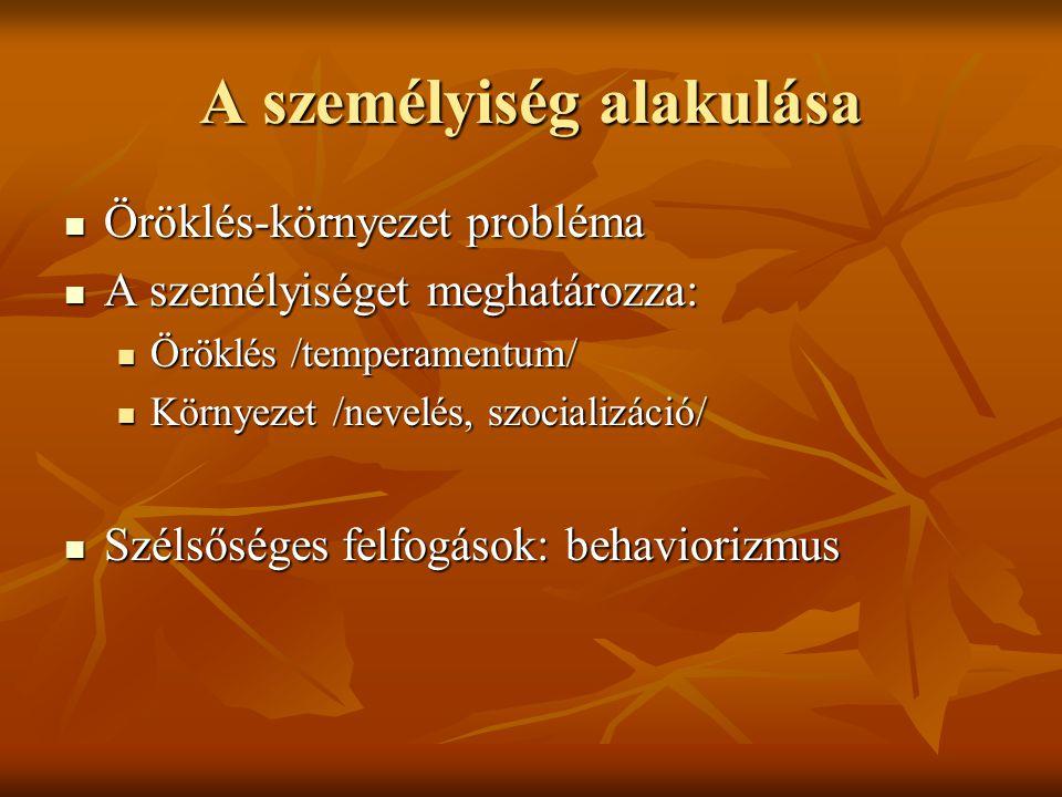A személyiség alakulása  Öröklés-környezet probléma  A személyiséget meghatározza:  Öröklés /temperamentum/  Környezet /nevelés, szocializáció/  Szélsőséges felfogások: behaviorizmus
