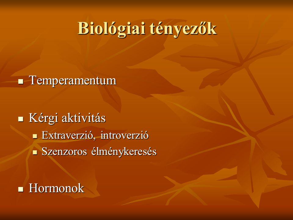 Biológiai tényezők  Temperamentum  Kérgi aktivitás  Extraverzió, introverzió  Szenzoros élménykeresés  Hormonok