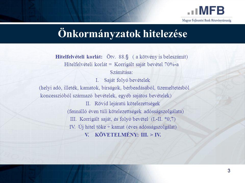 3 Önkormányzatok hitelezése Hitelfelvételi korlát: Ötv. 88.§ ( a kötvény is beleszámít) Hitelfelvételi korlát = Korrigált saját bevétel 70%-a Számítás
