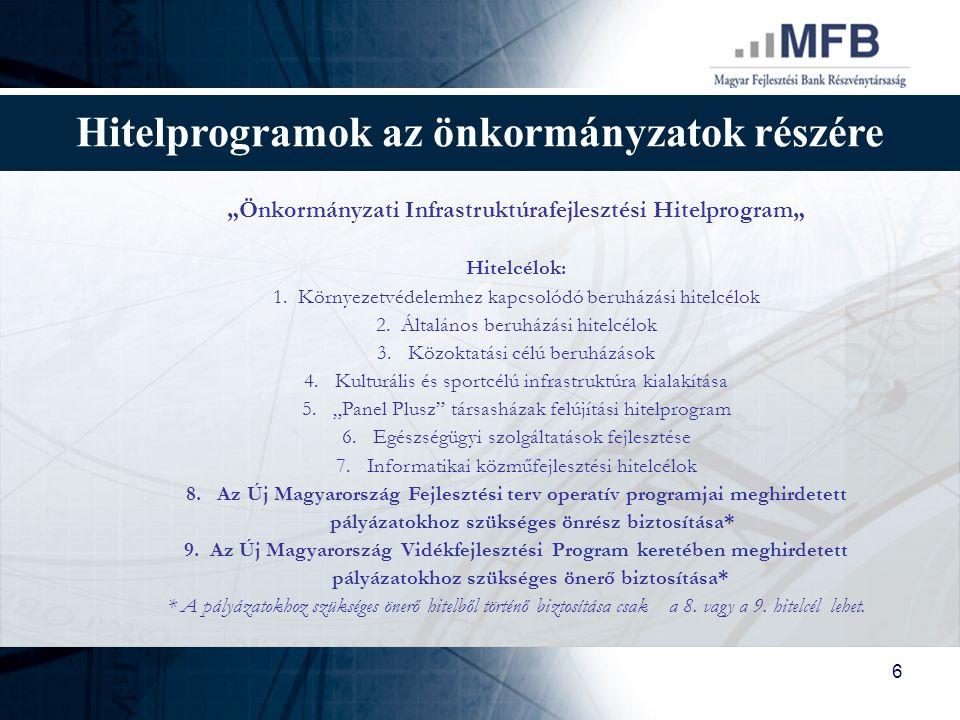 """7 Hitelprogramok az önkormányzatok részére MFB """"Önkormányzati Infrastruktúrafejlesztési Hitelprogram Kondíciók 1."""