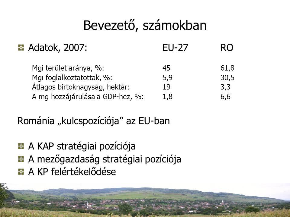 """Bevezető, számokban Adatok, 2007:EU-27RO Mgi terület aránya, %:4561,8 Mgi foglalkoztatottak, %:5,930,5 Átlagos birtoknagyság, hektár:193,3 A mg hozzájárulása a GDP-hez, %: 1,86,6 Románia """"kulcspozíciója az EU-ban A KAP stratégiai pozíciója A mezőgazdaság stratégiai pozíciója A KP felértékelődése"""