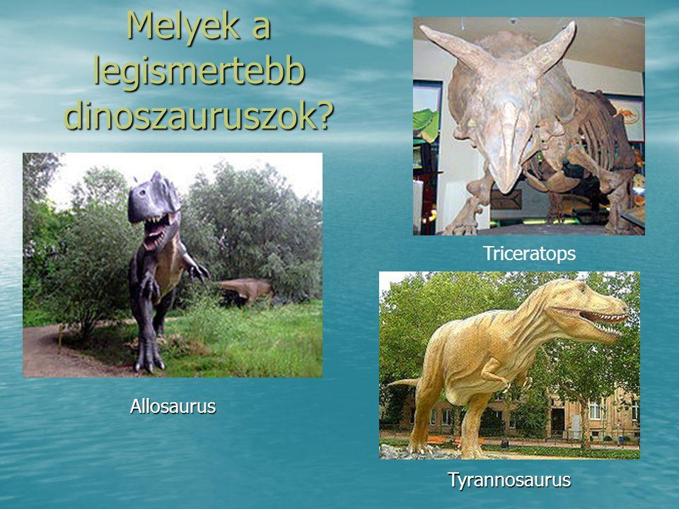 Melyek a legismertebb dinoszauruszok? Triceratops Tyrannosaurus Allosaurus