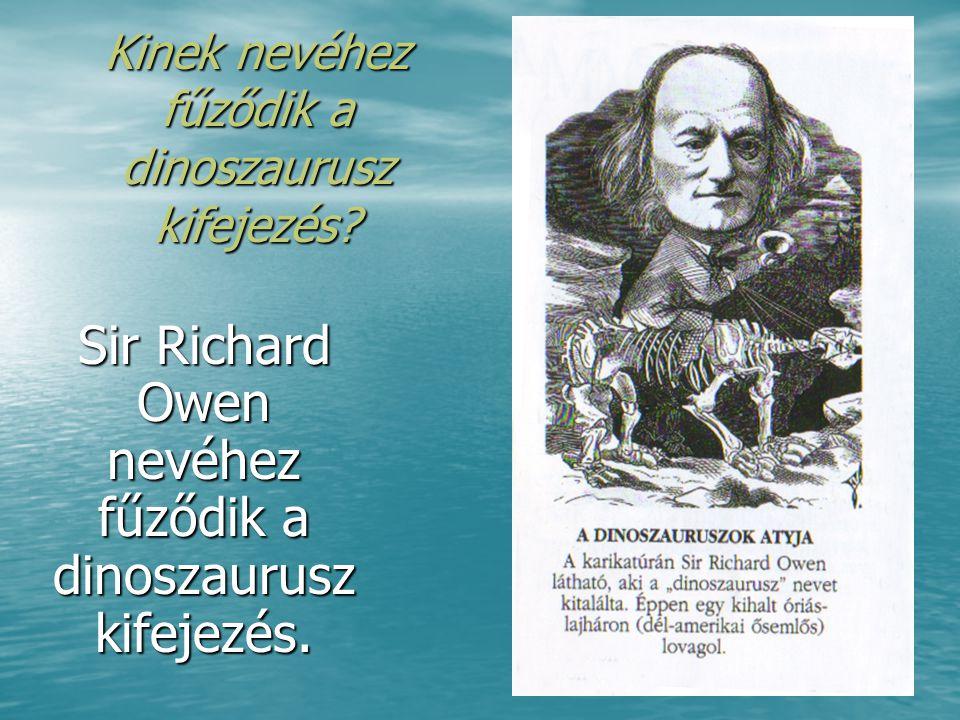 Kinek nevéhez fűződik a dinoszaurusz kifejezés? Sir Richard Owen nevéhez fűződik a dinoszaurusz kifejezés.