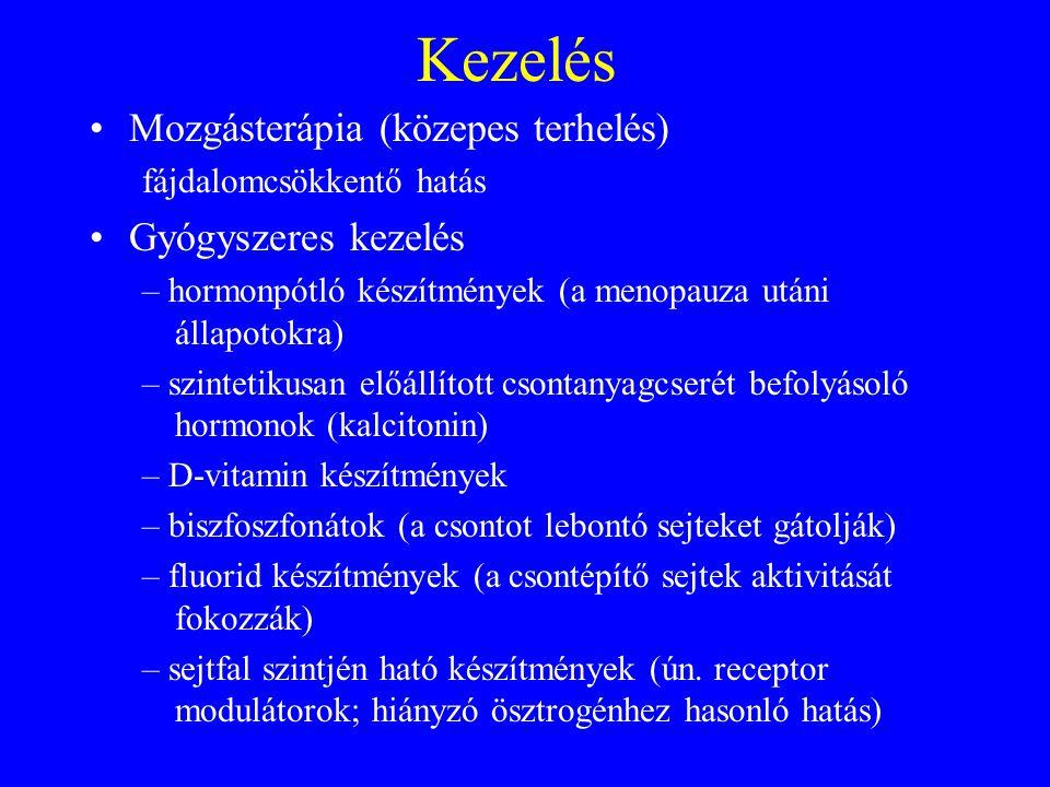 Kezelés •Mozgásterápia (közepes terhelés) fájdalomcsökkentő hatás •Gyógyszeres kezelés – hormonpótló készítmények (a menopauza utáni állapotokra) – sz