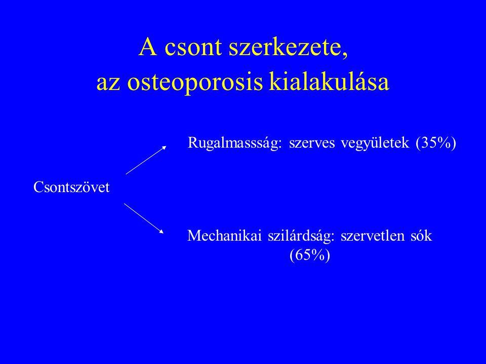 A csont szerkezete, az osteoporosis kialakulása Csontszövet Rugalmassság: szerves vegyületek (35%) Mechanikai szilárdság: szervetlen sók (65%)