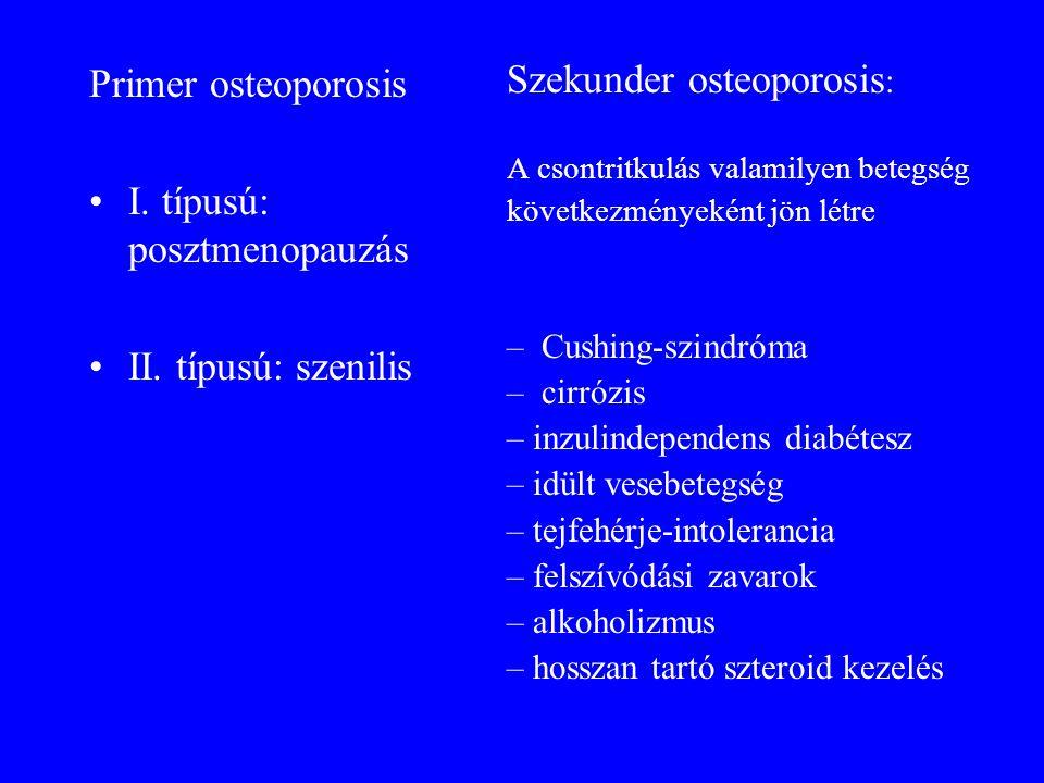 Primer osteoporosis •I. típusú: posztmenopauzás •II. típusú: szenilis Szekunder osteoporosis : A csontritkulás valamilyen betegség következményeként j
