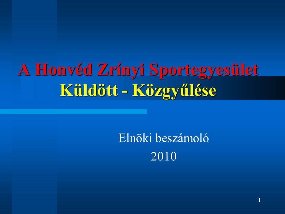 A Honvéd Zrínyi Sportegyesület Küldött - Közgyűlése Elnöki beszámoló 2010 1
