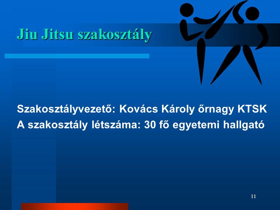 Jiu Jitsu szakosztály Szakosztályvezető: Kovács Károly őrnagy KTSK A szakosztály létszáma: 30 fő egyetemi hallgató 11