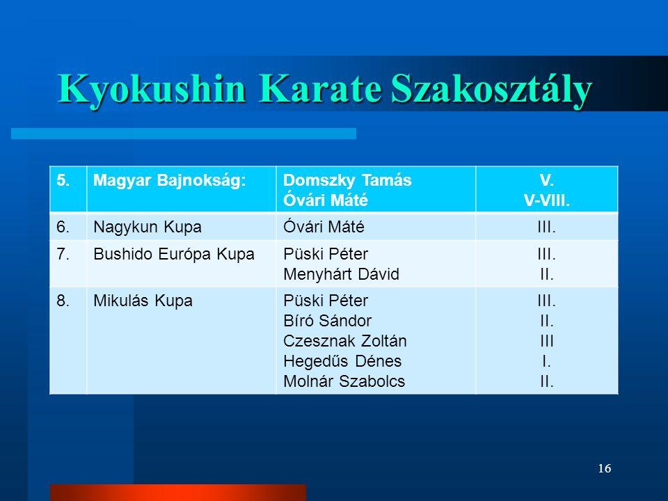 Kyokushin Karate Szakosztály 5.Magyar Bajnokság:Domszky Tamás Óvári Máté V.
