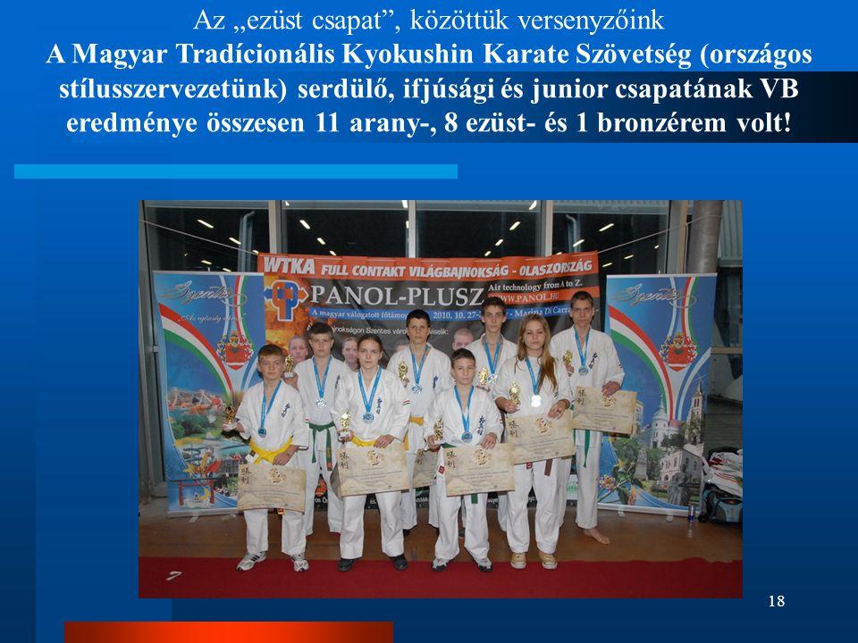 """Az """"ezüst csapat"""", közöttük versenyzőink A Magyar Tradícionális Kyokushin Karate Szövetség (országos stílusszervezetünk) serdülő, ifjúsági és junior c"""