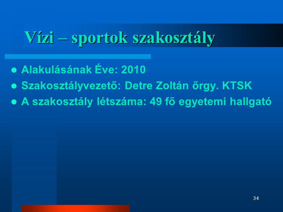 Vízi – sportok szakosztály  Alakulásának Éve: 2010  Szakosztályvezető: Detre Zoltán őrgy.