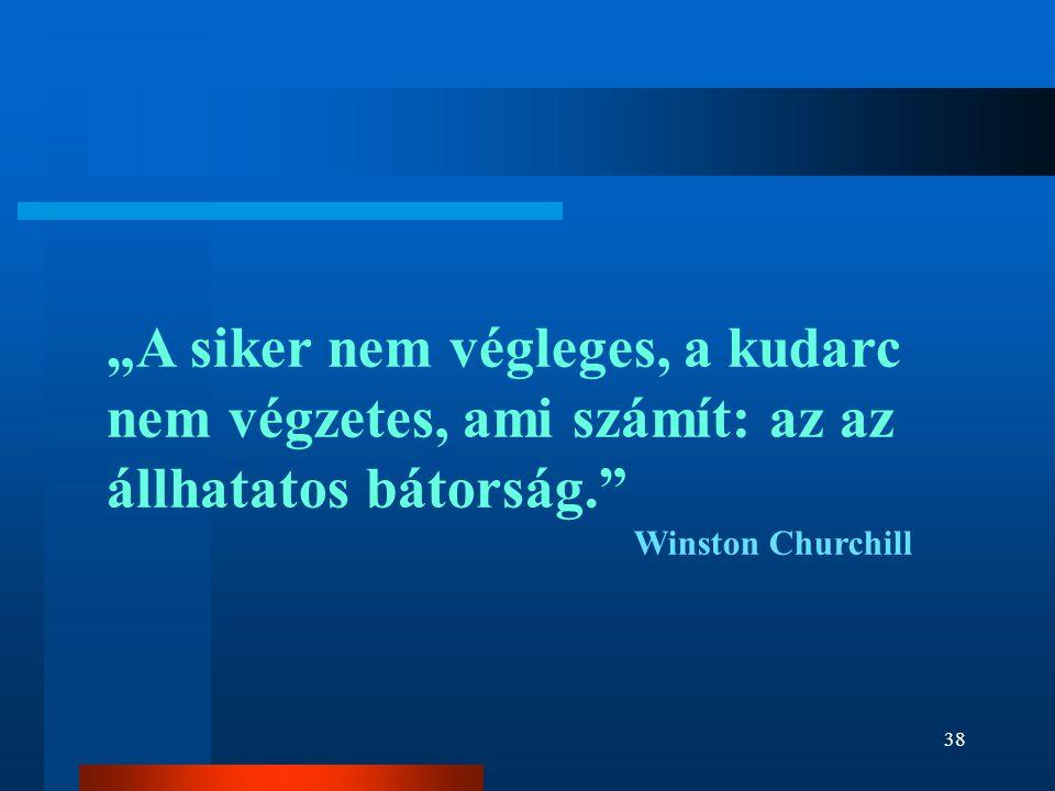 """""""A siker nem végleges, a kudarc nem végzetes, ami számít: az az állhatatos bátorság."""" Winston Churchill 38"""