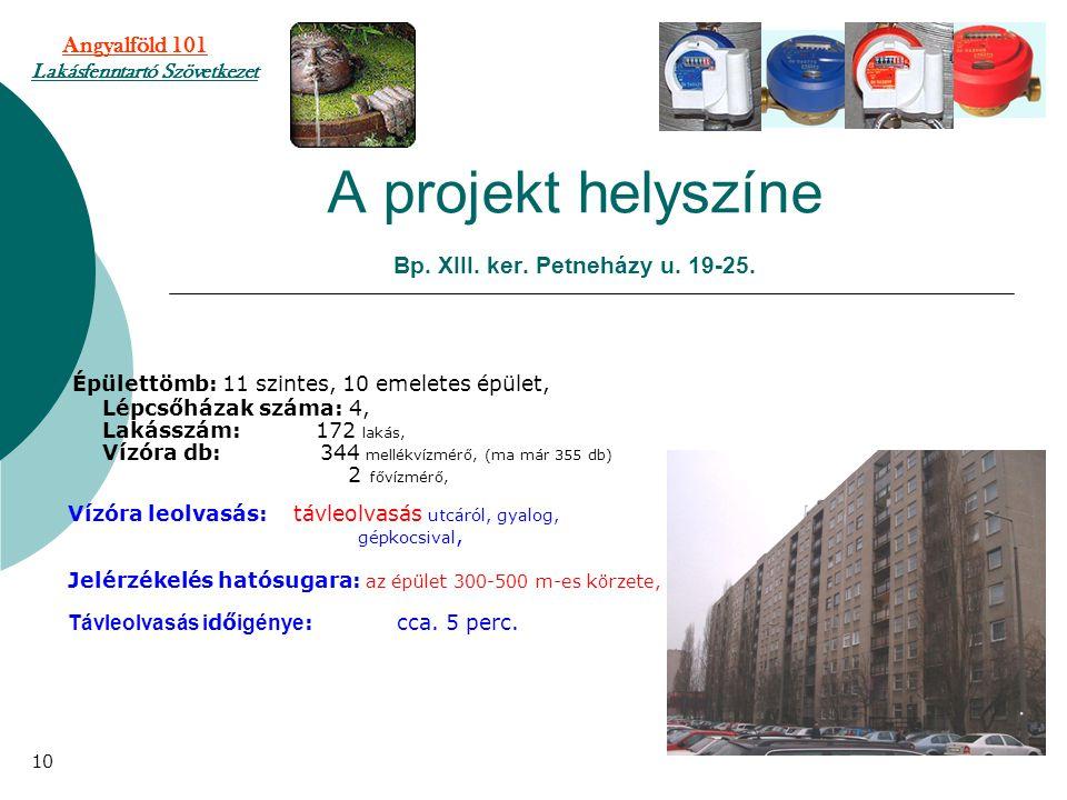 A projekt helyszíne Bp. XIII. ker. Petneházy u. 19-25. Épülettömb: 11 szintes, 10 emeletes épület, Lépcsőházak száma: 4, Lakásszám: 172 lakás, Vízóra