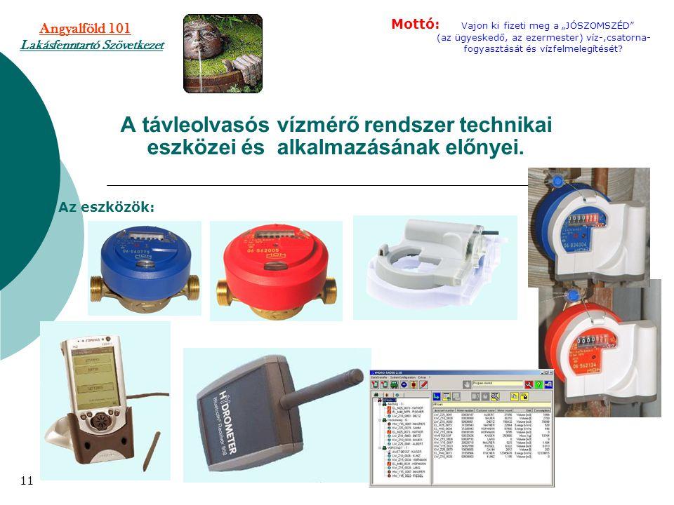 A távleolvasós vízmérő rendszer technikai eszközei és alkalmazásának előnyei. Az eszközök: 11 Angyalföld 101 Lakásfenntartó Szövetkezet Mottó: Vajon k